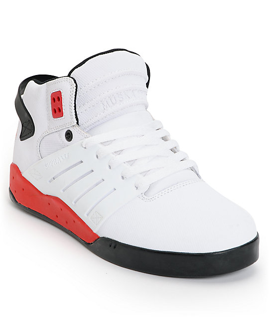 Supra Skytop III White, Black & Red TUF Skate Shoes