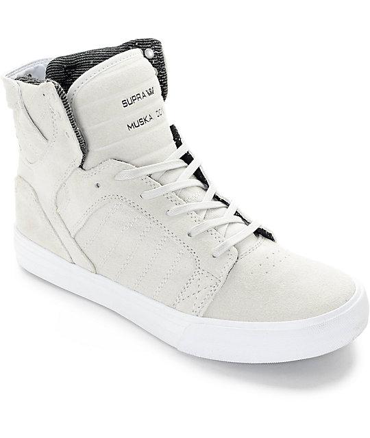 Supra Skytop Light Grey Skate Shoes