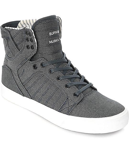 Supra Skytop Navy White Canvas Skate Shoes