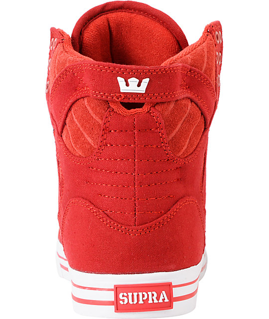 Supra Skytop Red Canvas & Suede Skate Shoes
