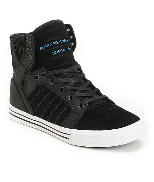 Supra Skytop Ripstop Black & Blue Skate Shoes