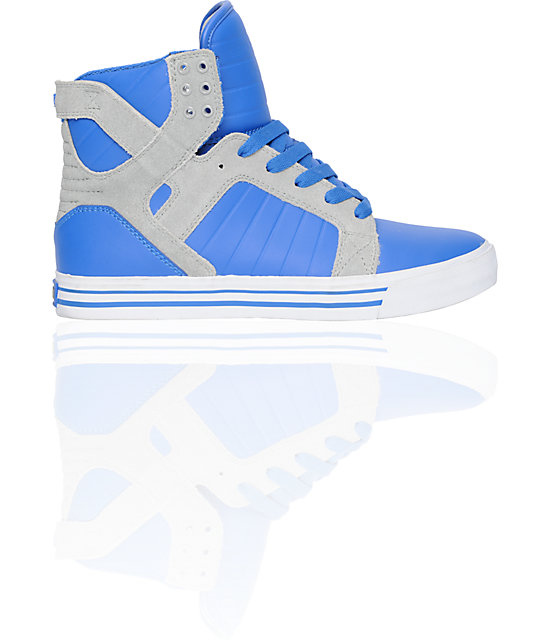 Supra Skytop Royal Leather & Grey Suede Skate Shoes