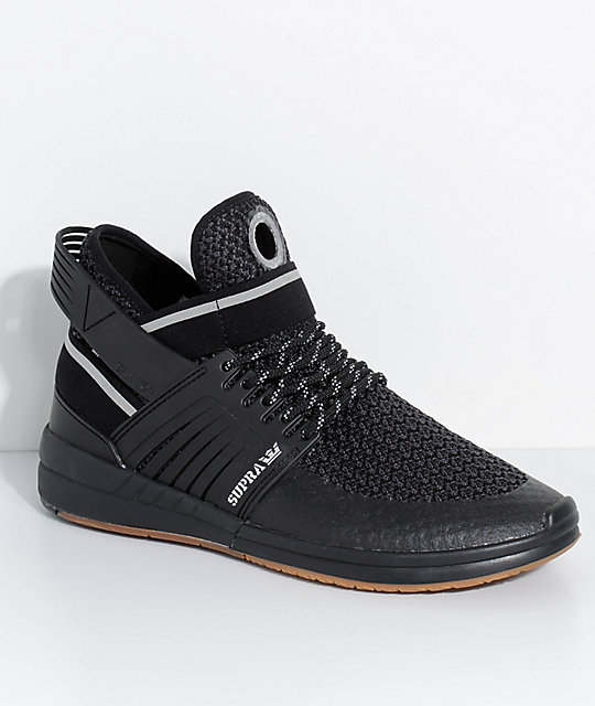 Supra Skytop V Black, Silver & Gum Knit Skate Shoes