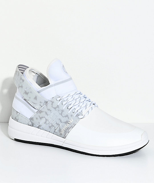 Supra Skytop V White & Grey Skate Shoes