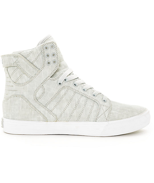 Supra Skytop Washed Light Grey Canvas Skate Shoes