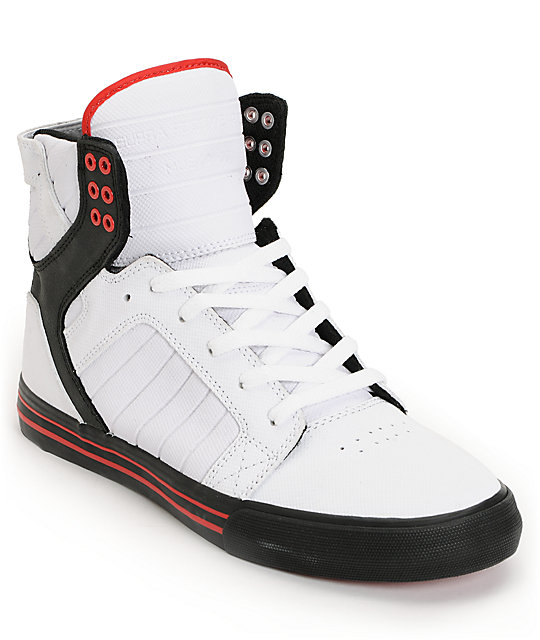 Supra Skytop White, Black & Red Gunny TUF Skate Shoes