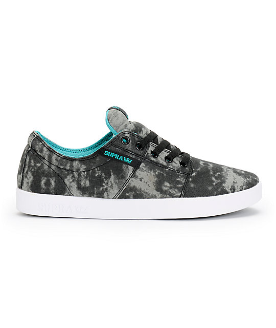 Supra Stacks Acid Wash & Turquoise Canvas Skate Shoes
