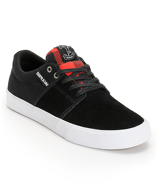 Supra Stacks Vulc Black & Red Buffalo Plaid Skate Shoes