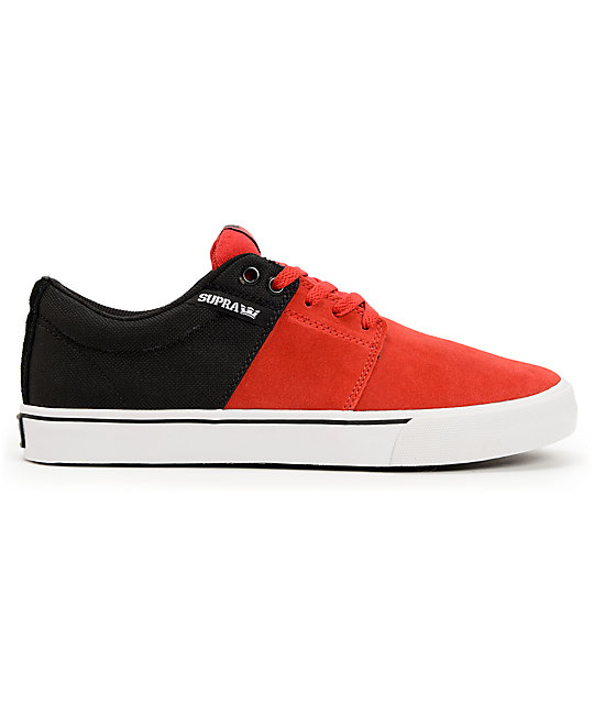 Supra Stacks Vulc Red Suede & Black Canvas Skate Shoes
