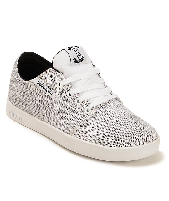Supra Stacks White Speckle Canvas Skate Shoes