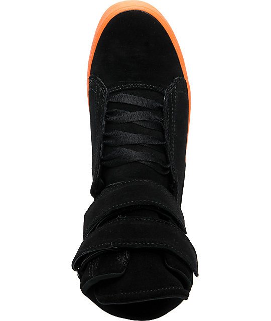 Supra TK Society Black Suede & Fluorescent Orange Shoes
