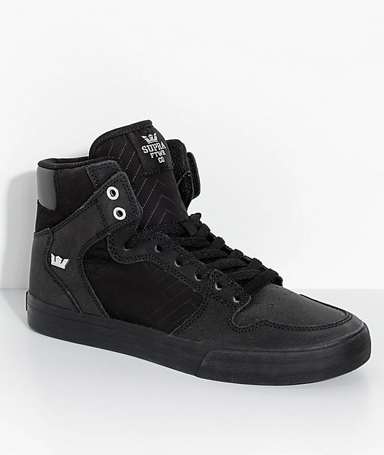 Supra Vaider All Black Nubuck & Nylon Skate Shoes