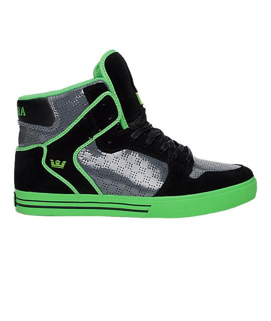 Supra Vaider Black, Grey & Green Shoes