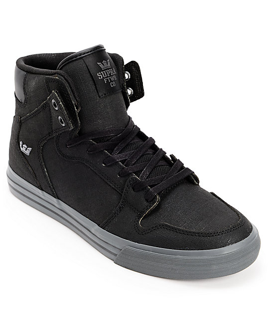Supra Vaider Black & Charcoal Tuf Gunny Shoes