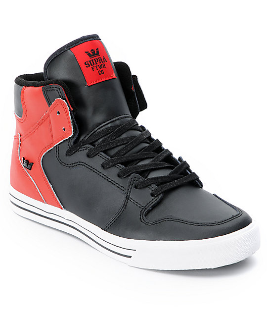Supra Vaider Black & Red Leather Shoes