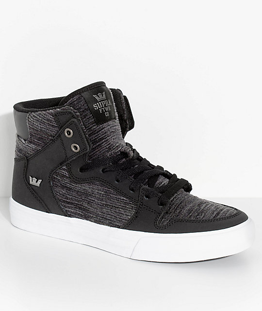 Supra Vaider Black & White Corduroy Skate Shoes