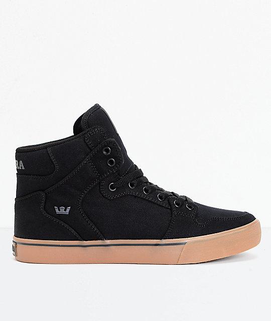 Supra Vaider Black Canvas Gum Skate Shoes