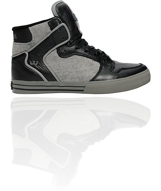 Supra Vaider Black Leather & Grey Fleece Shoes