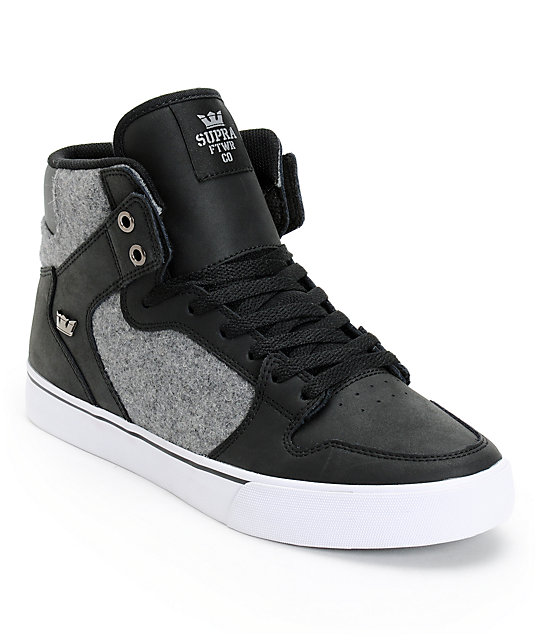 Supra Vaider Black Leather & Grey Wool Skate Shoes