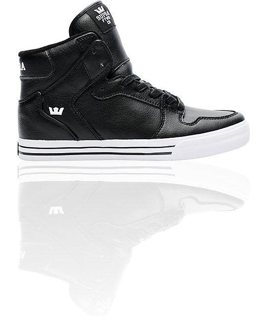 Supra Vaider Black Leather Skate Shoes