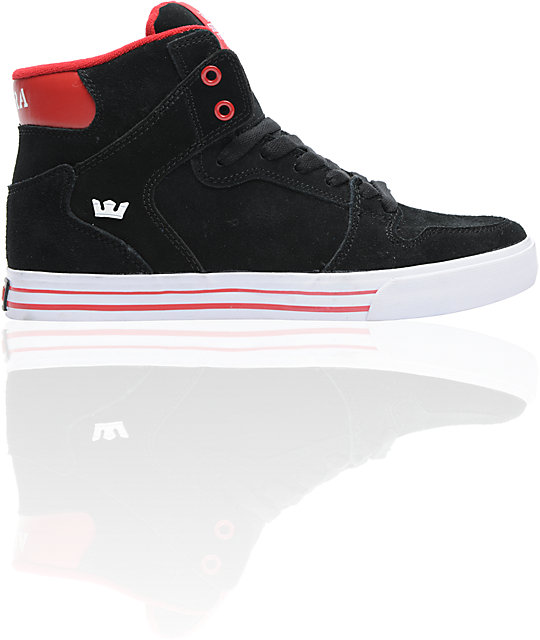 Supra Vaider Black Suede & Formula One Red Skate Shoes