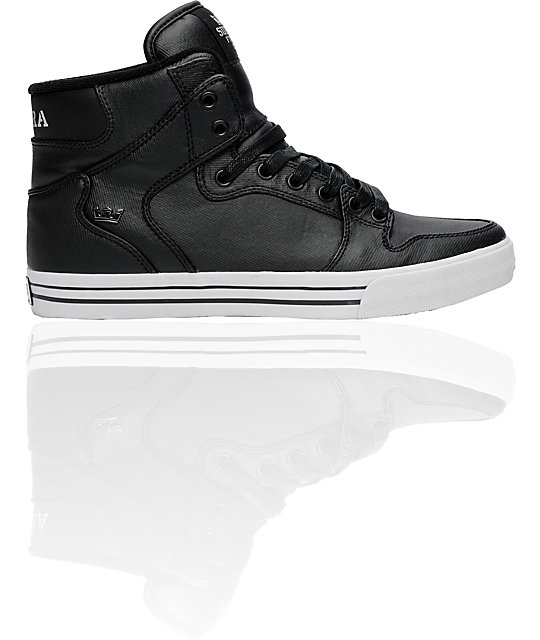 Supra Vaider Black Waxed Twill Shoes