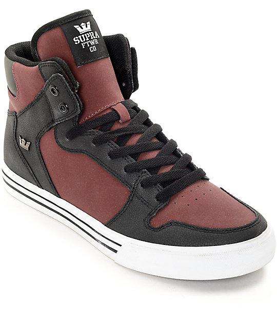 Supra Vaider Burgundy & Black Nubuck Skate Shoes