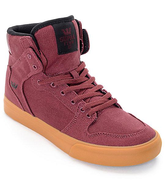 Supra Vaider Burgundy & Gum Boys Skate Shoes