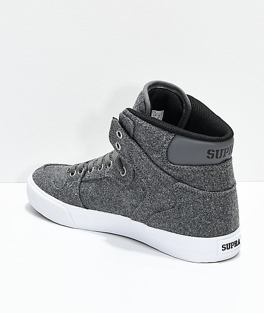 Supra Vaider Charcoal & White Wool Skate Shoes