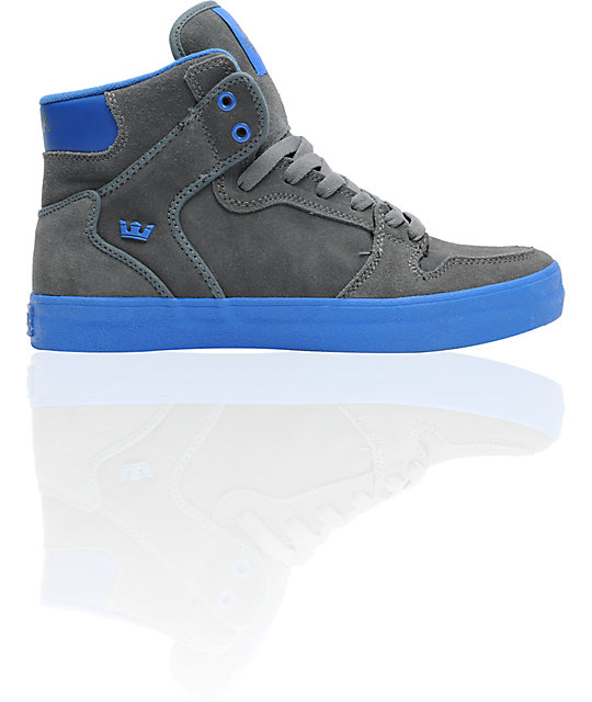 Supra Vaider Charcoal Grey Suede & Royal Blue Skate Shoes