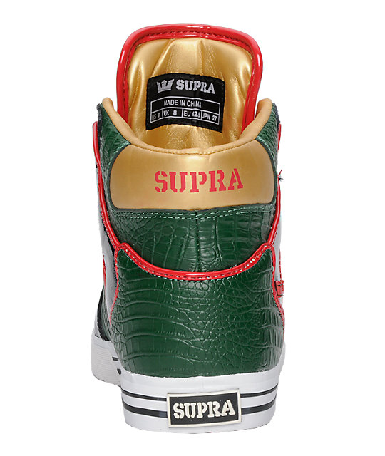 Supra Vaider Green, Black & Red Croc Shoes