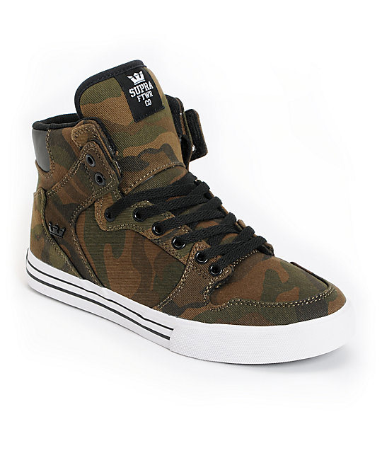 Supra Vaider Green Camo Skate Shoes