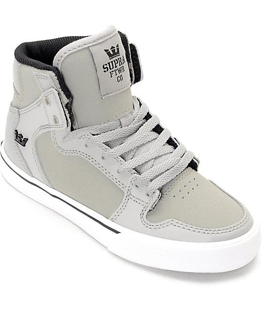 Supra Vaider Grey & White Suede Boys Shoes