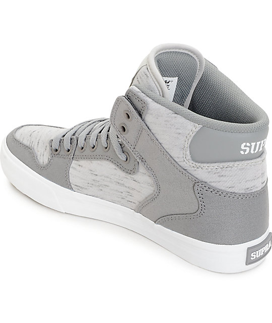 Supra Vaider Grey Heather Jersey Skate Shoes