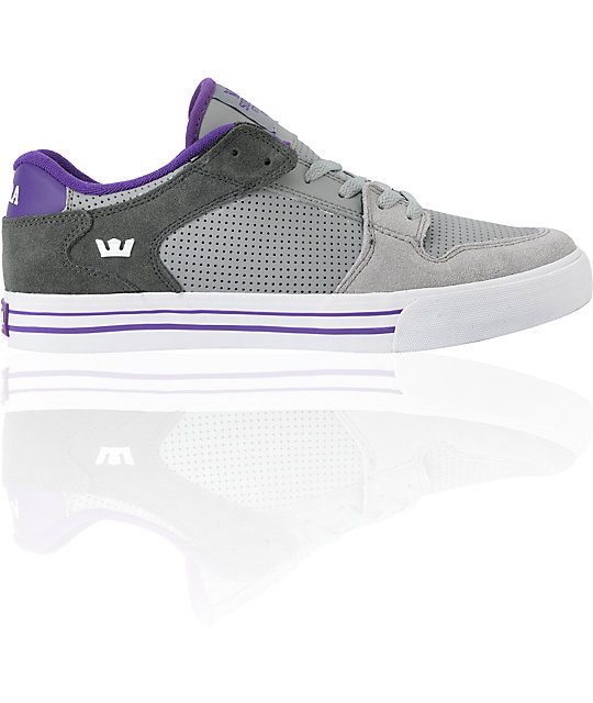 Supra Vaider Low Grey, Dark Grey & Purple Leather Skate Shoes