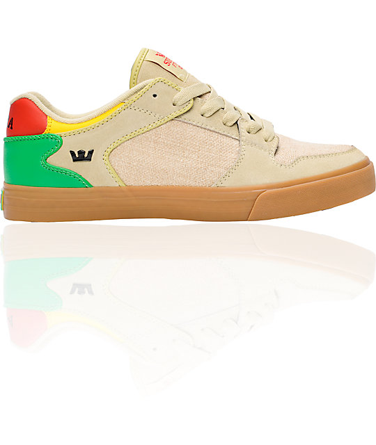 Supra Vaider Low Tan Hemp & Rasta Shoes