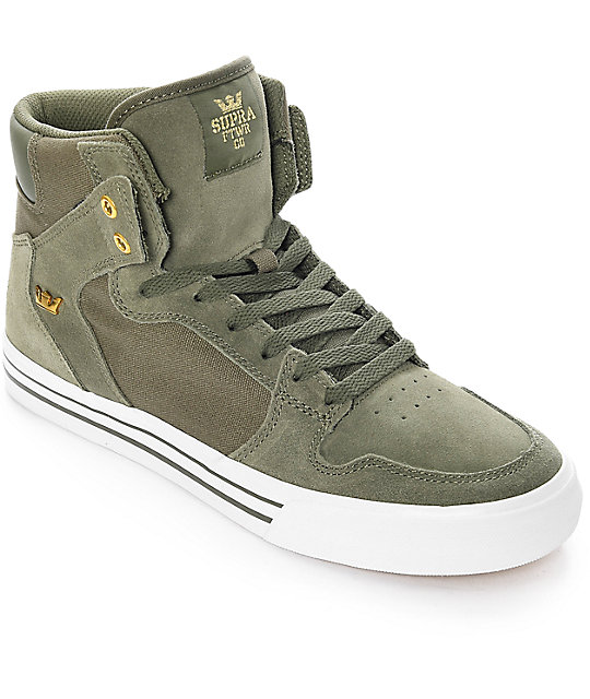 Supra Vaider Olive & White Suede Skate Shoes