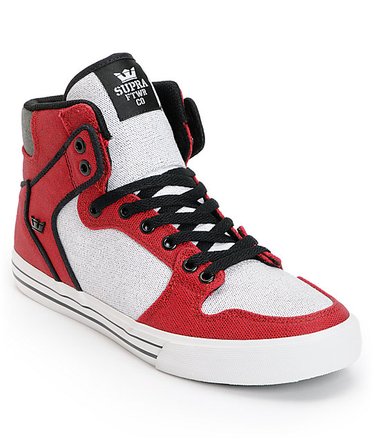 Supra Vaider Red, White & Black Canvas Skate Shoes