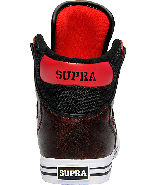 Supra Vaider Red Distressed Shoes