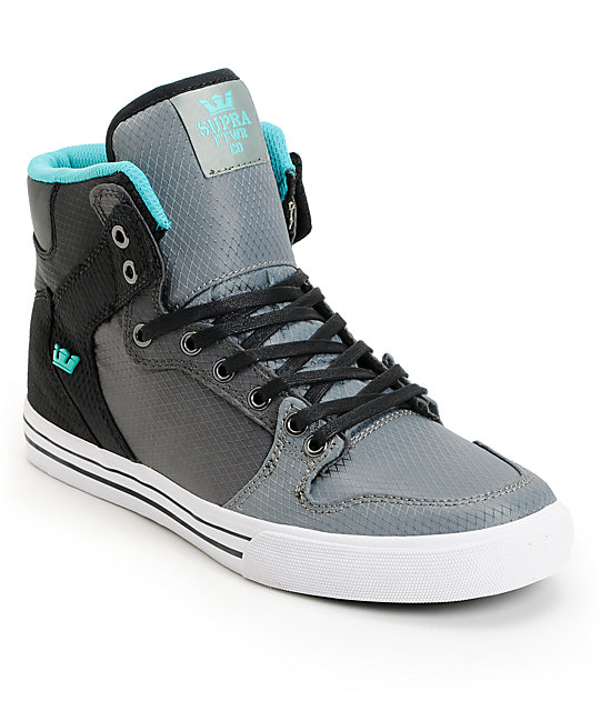 Supra Vaider Ripstop Tri-Tone Black, Grey & Teal Shoes