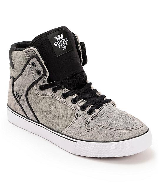 Supra Vaider Scorched Grey & Black Suede Skate Shoes