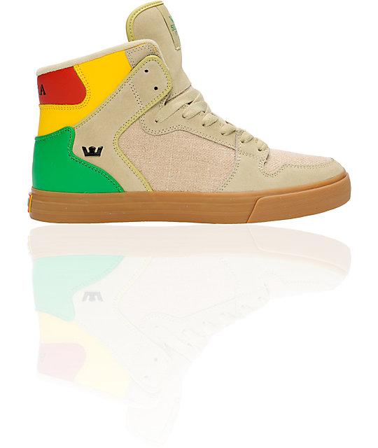 Supra Vaider Tan Hemp & Rasta Shoes
