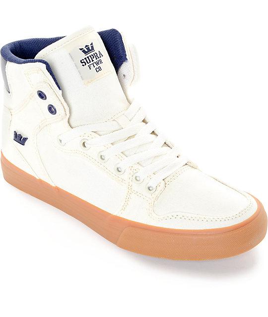 Supra Vaider White, Navy & Gum Canvas Skate Shoes