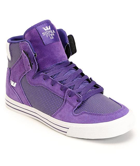 Supra Vaider White & Purple Leather Shoes