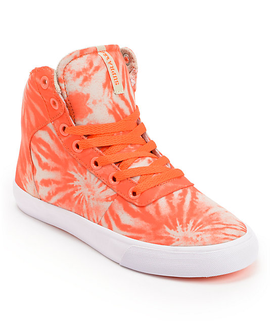 Supra Womens Cuttler Fluorescent Orange Tie Dye Shoes
