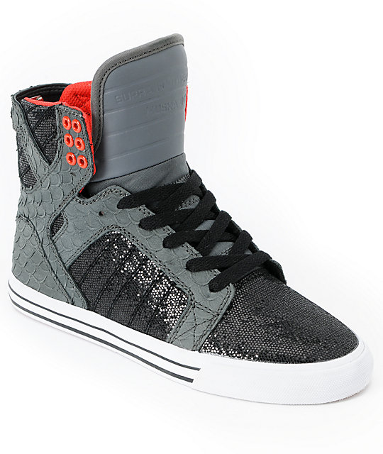 Supra Womens Skytop Grey & Black Sparkle Leather Shoes