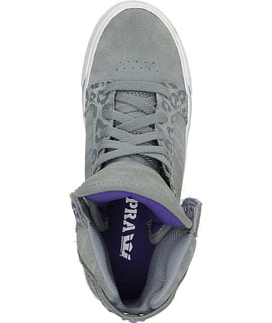 Supra Womens Skytop Grey & Cheetah Print Suede Shoes