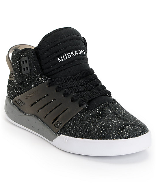 Supra Womens Skytop III Black Glitter Shoes