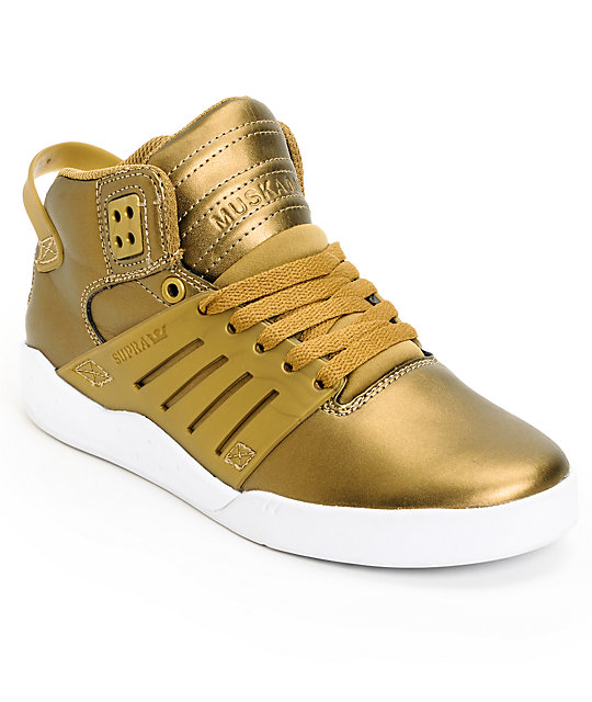 Supra Womens Skytop III Gold Leather Skate Shoes