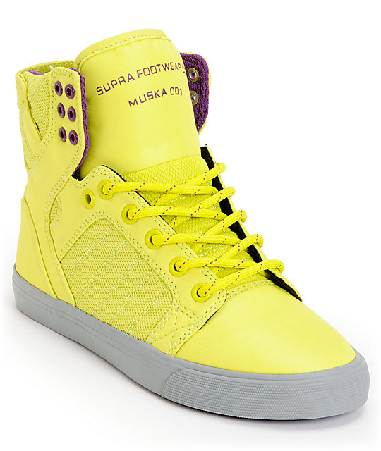 Supra Womens Skytop Neon Yellow Nylon Shoes